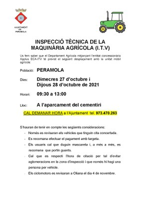 INSPECCIÓ TÈCNICA VEHICLES AGRÍCOLES