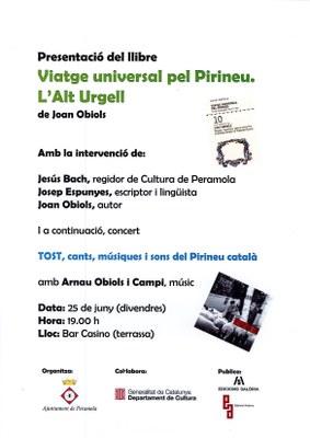 """Presentació del llibre """"Viatge universal pel Pirineu. L'Alt Urgell"""" de Joan Obiols"""